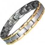 MPS® POLARIS Gold Edges Plated Titanium Magnetic Bracelet