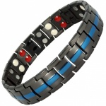 MPS® EUROPE BLACK with BLUE LINE Titanium 4 Elements Magnetic Bracelet