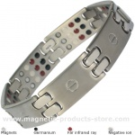 MPS® SCAN Multi Elements Silver Tone Titanium Magnetic Bracelet