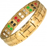 MPS™ LEPRECHAUN-Taming, 5 in 1 Elements GOLD PL Titanium Magnetic Bracelet