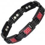 MPS™  MARSHALL  Jet Black Ladies Titanium Magnetic Bracelet with Red Carbon Inserts