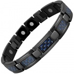 MPS® ATOL Jet Black Titanium Magnetic Bracelet with Blue Carbon Insert