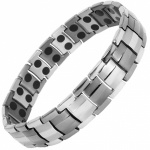 MPS® Magnetic Bracelet for Men Arthritis Pain Relief Health Titanium Magnet Therapy Wristband, EUROPE 2 shades of grey, with Resizing Tool