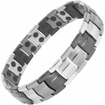 MPS® Magnetic Bracelet for Men Arthritis Pain Relief Health Titanium Magnet Therapy Wristband, EUROPE 3 shades of grey, with Resizing Tool