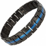 MPS® EUROPE Classic BLUE LINE and BLACK Titanium Magnetic Therapy Bracelet for men