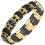 MPS® HOMER BLACK-GOLD ALTERNATING LINKS Magnetic Bracelet for Men Arthritis Pain Relief Health Titanium Magnet Therapy Wristband