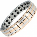 MPS® HOMER Classic Silver with Rose Gold Edges Titanium Magnetic Therapy Bracelet