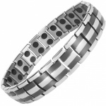 MPS HOMER SILVER 2 BLACK Titanium Magnetic Therapy Bracelet