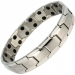 MPS® CastleRock Titanium Magnetic Therapy Bracelet for Men SILVER