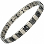 MPS® ALVIR SILVER and BLACK Double Strength Titanium Magnetic Bracelet for Women