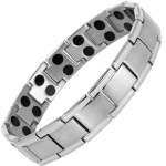 MPS® SHEFFIELD Silver-Grey Titanium Magnetic Therapy Bracelet for Men