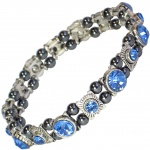 MPS® FELICIAN Beautiful Hematite Crystal Magnetic Bracelet for Women - Stretching Band - Deep Blue Crystals
