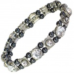 MPS® FELICIAN Beautiful Hematite Crystal Magnetic Bracelet for Women - Stretching Band - Clear Crystals