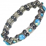MPS® FELICIAN Beautiful Hematite Crystal Magnetic Bracelet for Women - Stretching Band - Light Blue Crystals