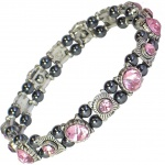 MPS® FELICIAN Beautiful Hematite Crystal Magnetic Bracelet for Women - Stretching Band - Lilac Crystals