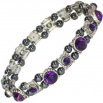 MPS® FELICIAN Beautiful Hematite Crystal Magnetic Bracelet for Women - Stretching Band - Purple Crystals