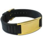 Original IonTopia™ HI-PRIME Limited Editions Magnetic Bracelet with Black Silicone Strap and Gold Tag