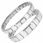 MPS® EXPANDING Magnetic Bracelets MATCHING SET Silver-Grey
