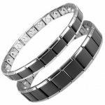 MPS® EXPANDING Magnetic Bracelets MATCHING SET Black-Silver